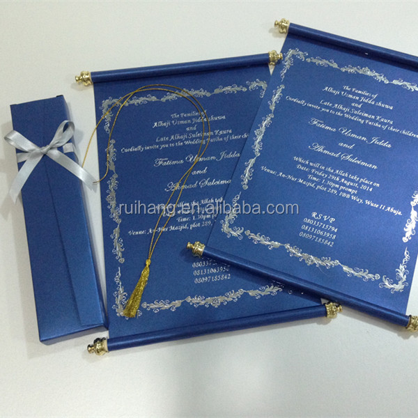 royal blue scroll wedding invitation card with box buy popular factory direct fancy scroll invitationbox scroll wedding invitation cards with gold tasse