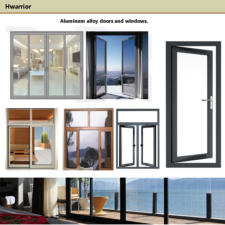 hot selling grey aluminum frame glass windows Chinese supplier  HCW50