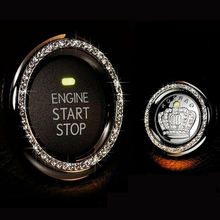 New Crystal Rhinestone Car Engine Start Stop Ignition Key Ring Car Interior Decor One-Key Engine Ignition Push Button Decorative