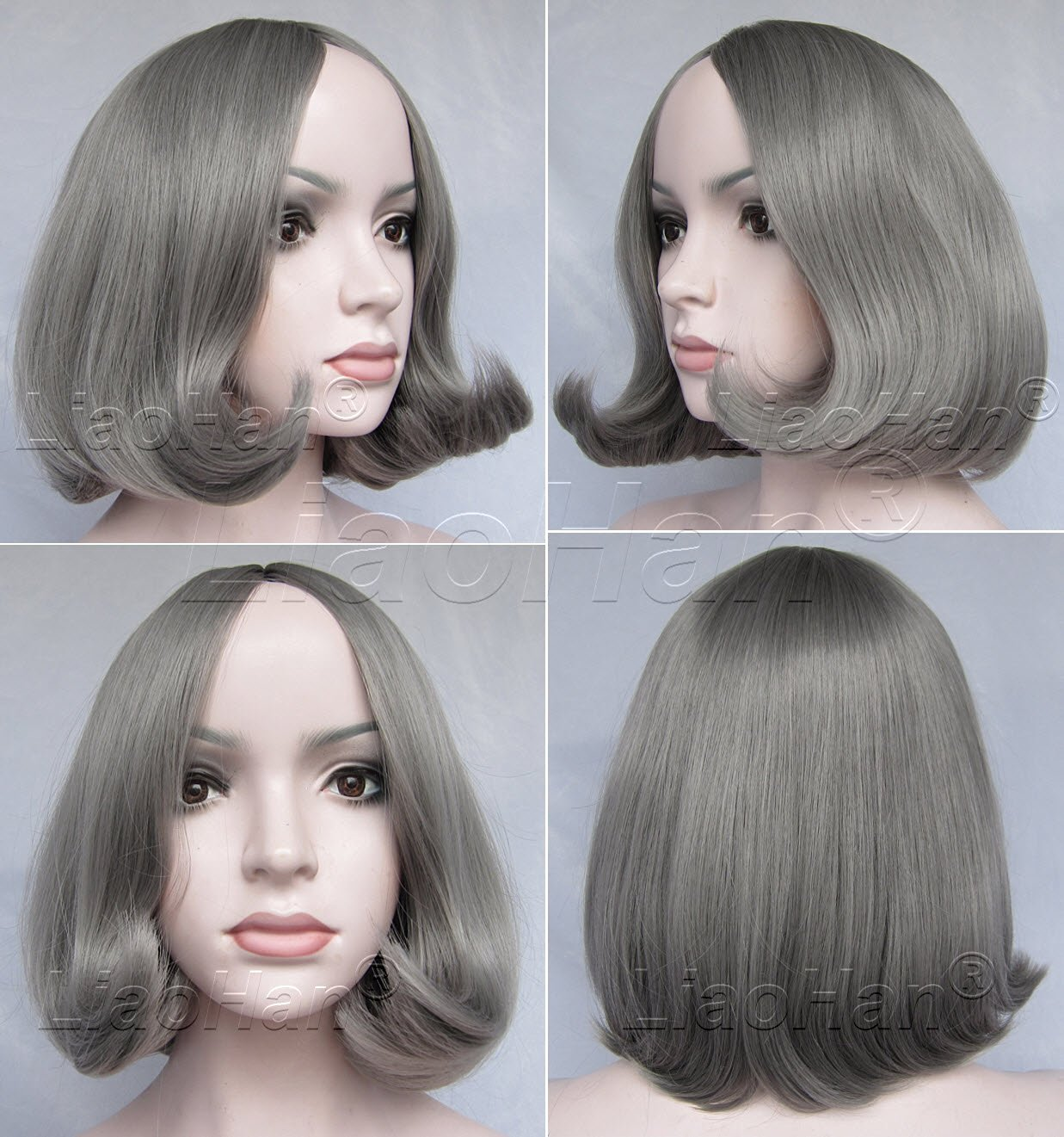 Liaohan® Fashion Short Hair Wig Smart Short Bob Hair Grey Wig Cosplay Wigs for Women with Wig Cap