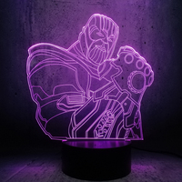 3D LED Night light half body Big Villain Thanos big guy strong man Figure USB Base 7 Color Change Boy Kids Toys Cool gifts
