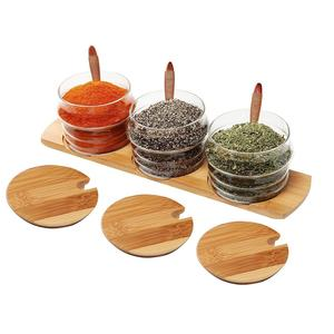 Glass Condiment Jars with bamboo tray bamboo spoon and bamboo Lid Set of 3