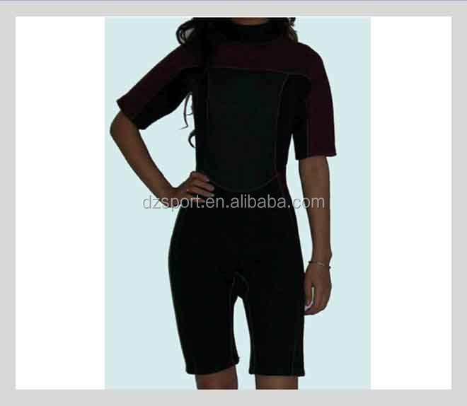 Fashion 2.5mm Neoprene surfing wetsuits Women neoprene shorty for surfing swimming OEM Neoprene Surfing Wet Suits