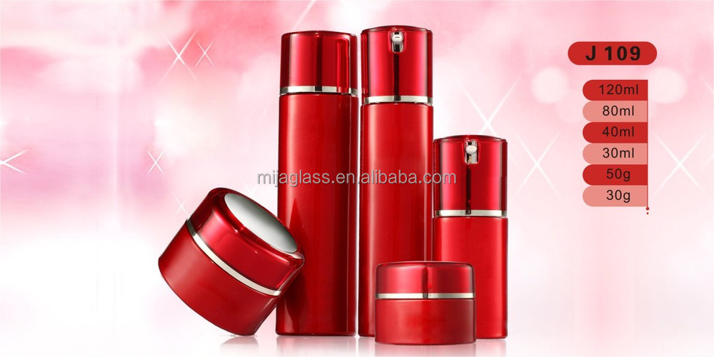 Luxury red unique glass bottle cosmetic packaging for cosmetic products