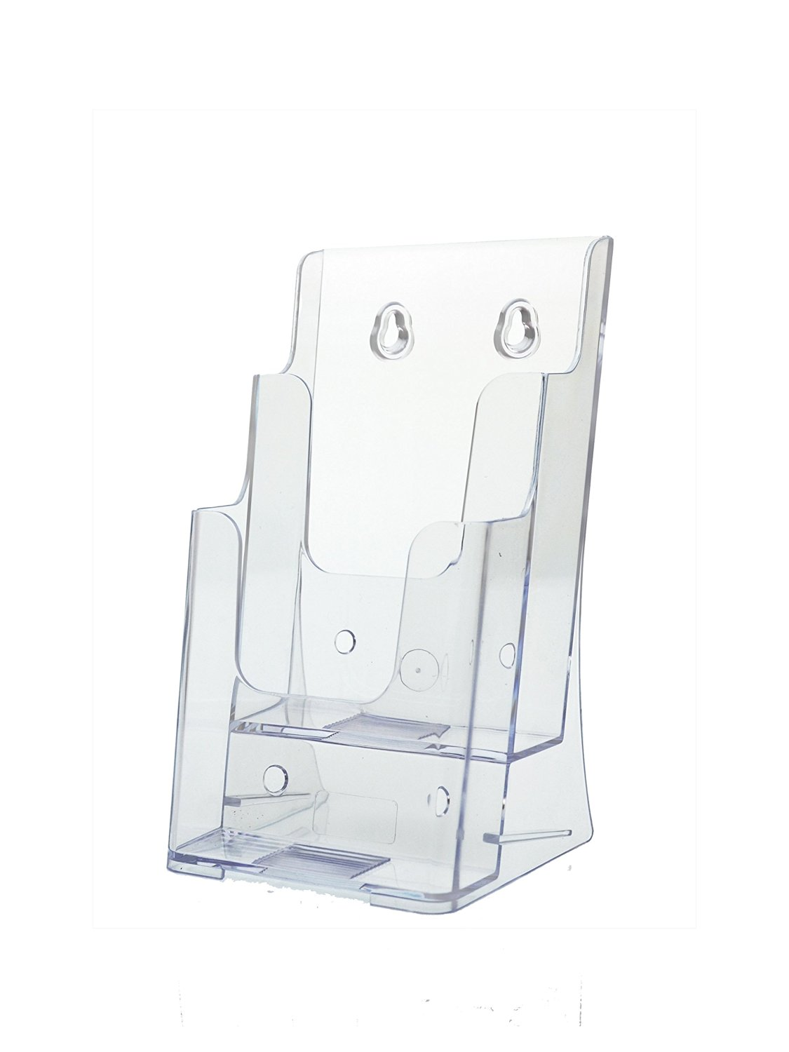 Marketing Holders Clear Acrylic 2 Pocket Brochure Holder for 4 Inch Wide Literature, Tri-fold Brochures, Wall Mount or Counter (Lot of 24)