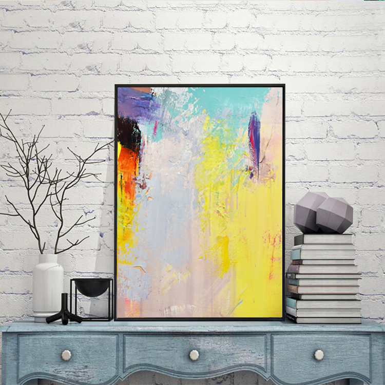 Framed Wall Decor Modern Abstract Canvas Art Acrylic Painting For