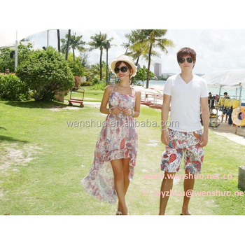 2014 New Korean Men And Women Lovers Pink Paisley Shorts Beach ...
