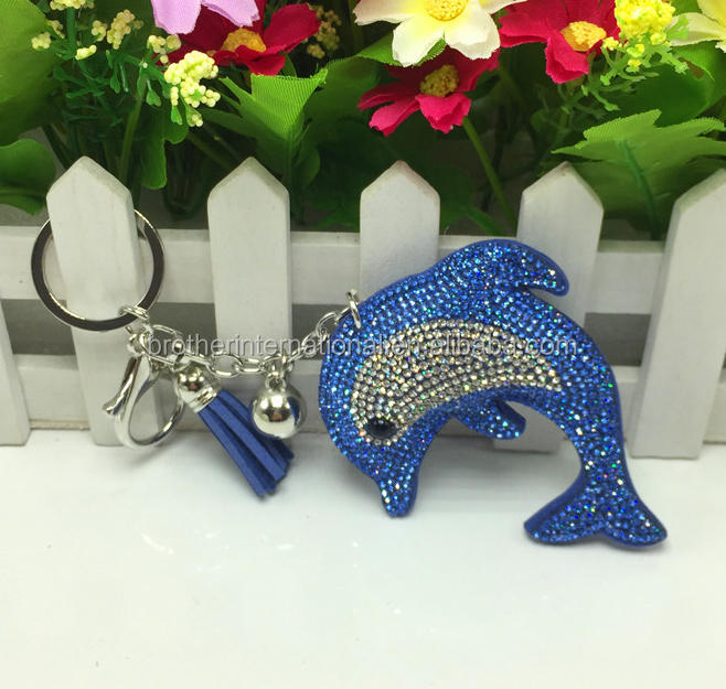 Dolphin Keychains Bag Charm Keyring Two Colors Rhinestones Keychain
