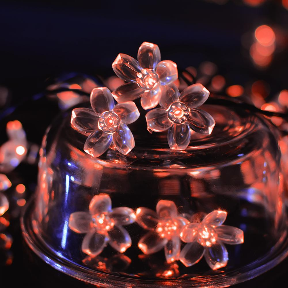 New Product Peach Blossom Color Changing Solar Led Holiday Living