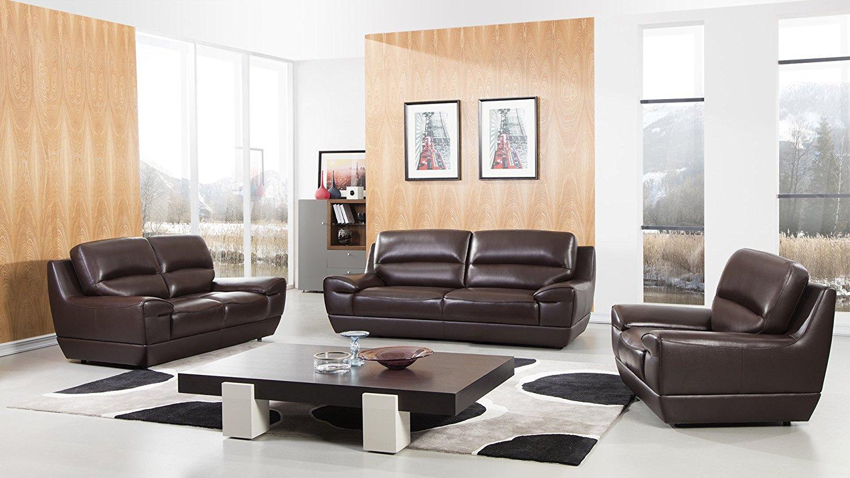 American Eagle Furniture 3 Piece Stratton Collection Complete Italian Grain Leather Living Room Sofa Set, Dark Brown