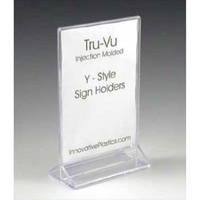 double sided Acrylic Menu Holder with a triangular base