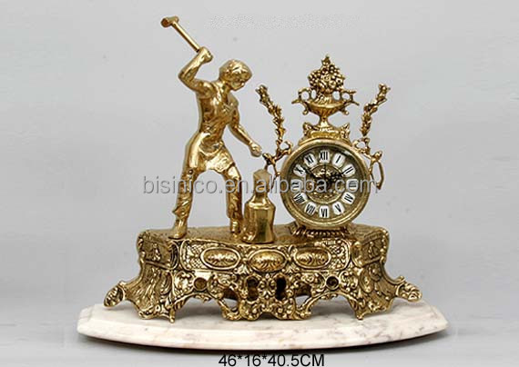 Classical Home Decorative Table Clock , Vintage Collectible Brass Desk Clock