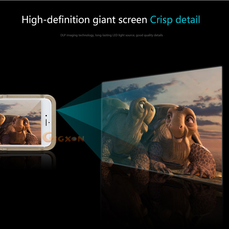 Gigxon - I60+ DLP Pico LED Projector for iPhone 6 Series mobile projector - 80 Lumens WVGA 854 x480