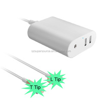 magnetic T-tip & L-tip extension cable 60W OEM Laptop notebook AC power charger Adapter with dual usb charging ports