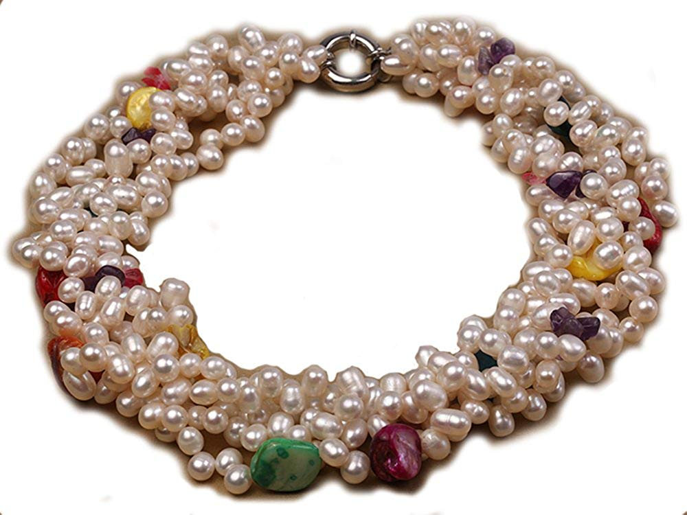JYX Multi-strand 6x7mm White Freshwater Pearl Necklace Dotted with Colorful Shell Beads