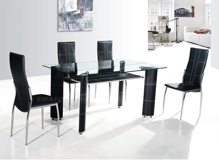 819c80a4d3 Cheap wholesale double black glass dining table and 4-6 chairs set. Hot sale  products
