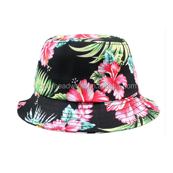 a56fa5d73d6a0 atacado personalizado impressão balde chapéu   alta qualidade barato balde  floral   moda Havaí sublimação balde