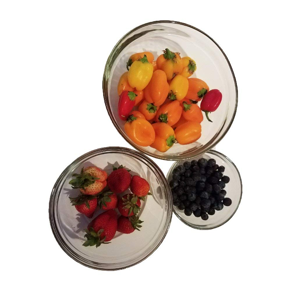 3 Piece Glass Bowl Set, Use as Cooking Bowls, Mixing Bowls, Nesting Bowls, Prep Bowls, Dipping Bowls and More