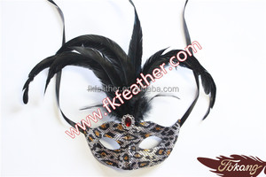 Black Cock Feather Venetian Mask For Sale