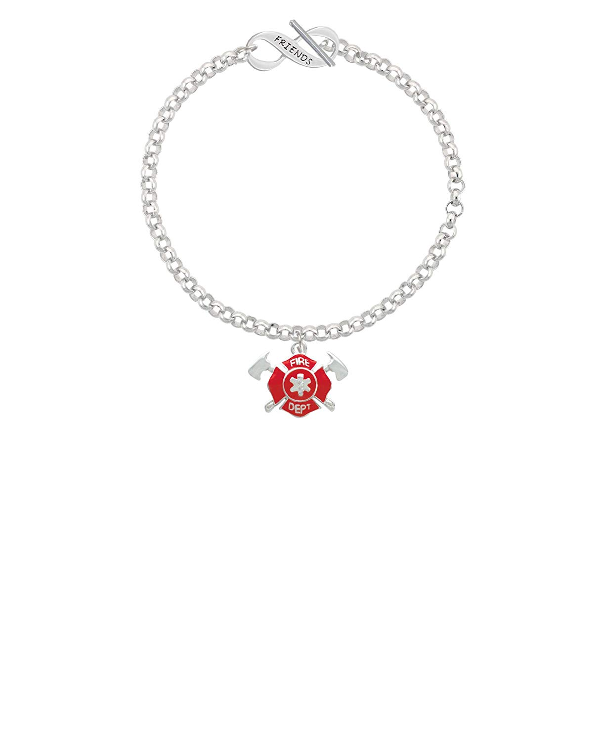 8 Silvertone Red Fire Department Shield with Axes Love Infinity Toggle Chain Bracelet