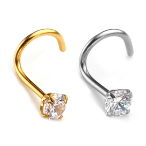 Fashion 3MM Zircon Rhinestone Septum Nose Studs Hooks Bar Pin Body Piercing Stainless Steel Jewelry Nose Rings