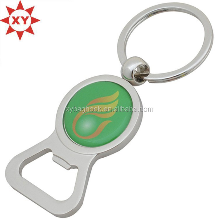 fashion personalize feather green sticker metal key chains bottle opener