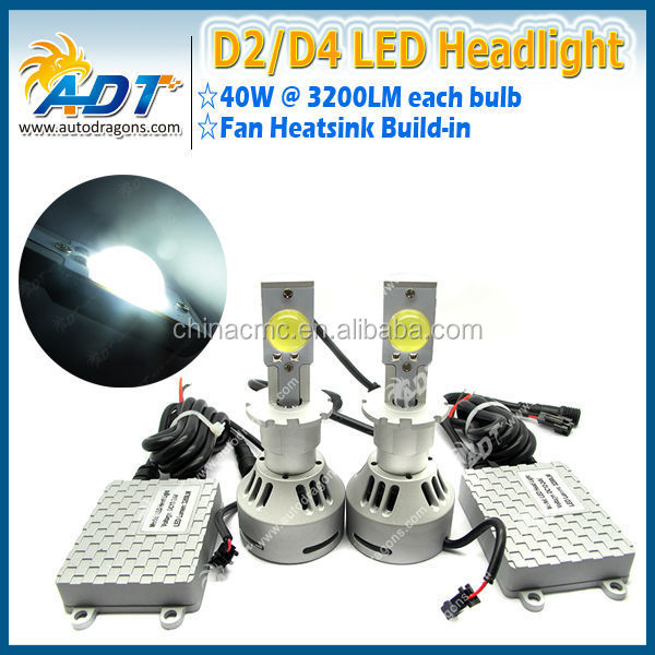 ADT High Quality 80W 6400lm Car Light D2 D4 USA CR Auto LED Headlight Light bulb Beam Car Accessories