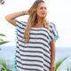 fashion summer casual loose spinning tunic plus size beach short fabric print stripe polyester small tassel Blouses