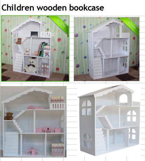 Deluxe Wit houten poppenhuis Opslag Boekenkast Kinderen Pop meubels ...