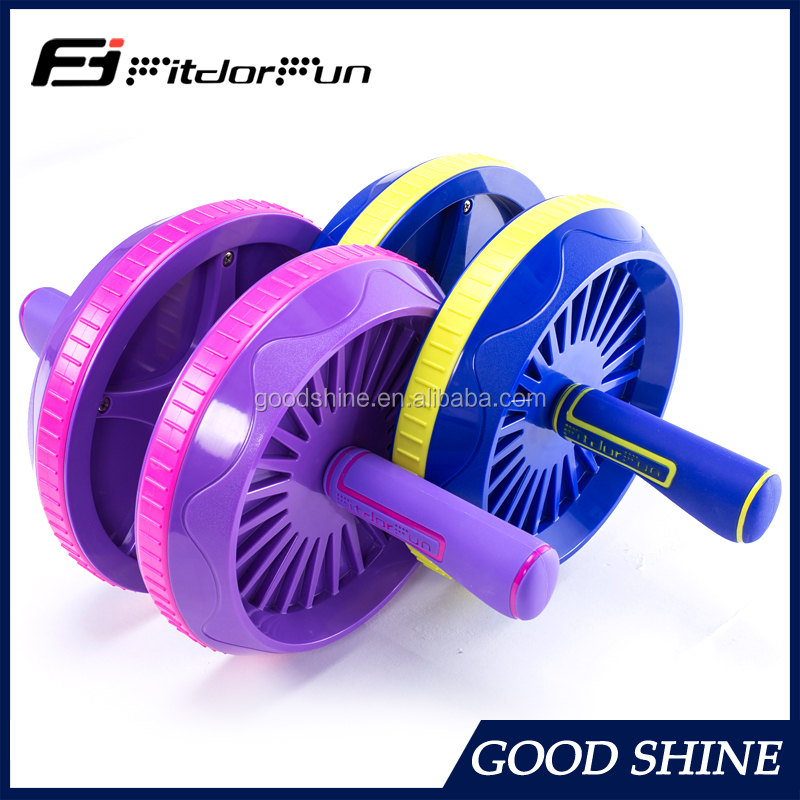 Wholesale High Quanlity Gym Exercise AB Wheel With bicycle style Handle