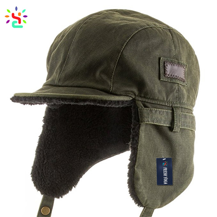 Custom logo winter army ushanka flat bill faux lather aviator hat pilot  russian hat 94adb4d6423