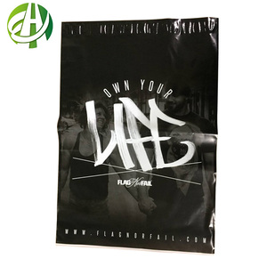 Cheap wholesale clothing shirt shipping Custom order Black printed self sealing plastic packaging postage poly mail bags