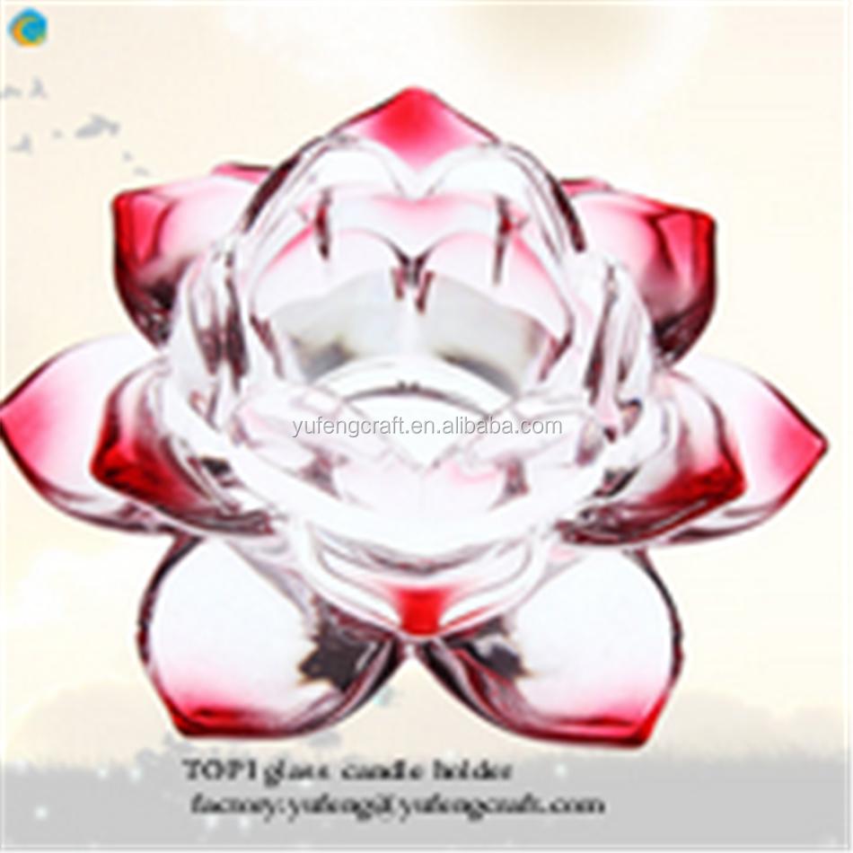 Wholesale Crystal Glass Lotus Flower Shape Candle Holdercandelabra
