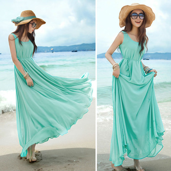 5907c04085 Women s Elegant Chiffon Long Maxi Vintage Beach Evening Cocktail Party Dress