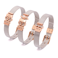 Fashion stainless steel mesh bangle heart charm bracelet for women