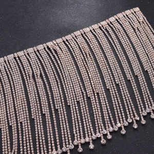 rose gold long fringe crystal rhinestone applique trim tassel strass patches trimmings