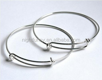 Silver Expandable Wire Bangle Bracelet For Charms Adjule Stacking Charm