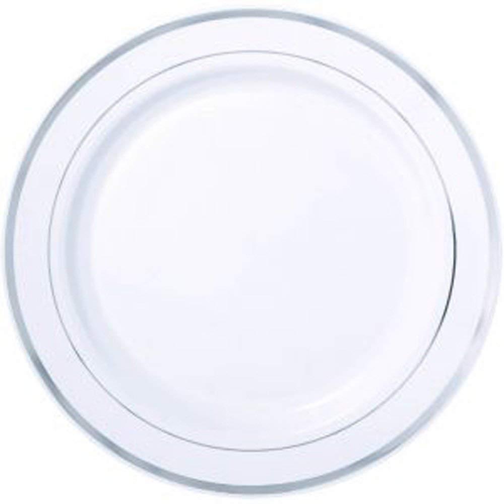 "Silver Rimmed White Dinner Plate, Round Silver Rimmed Plate - 7.5"" - Premium Plastic Plates - 100ct Box - Restaurantware"