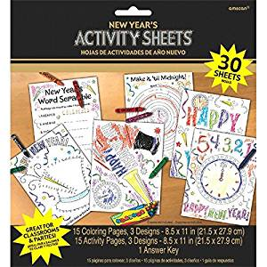Amscan Sparkling New Year Coloring Sheets Party Activity, Black/White