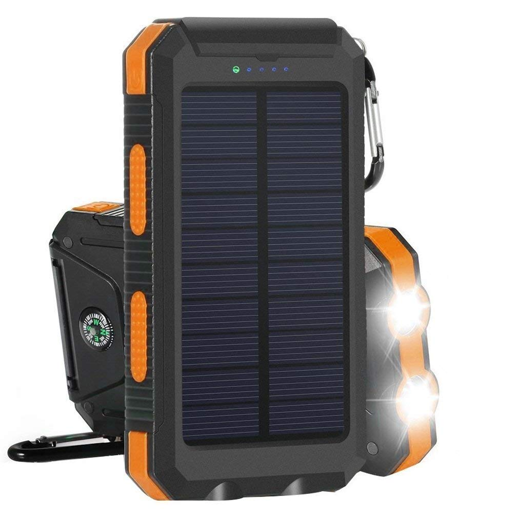 Solar Charger 10000mAh Power Bank Amersin Portable External Backup Battery Pack with 2 LED Dual USB Solar Panel Charger for Outdoor Camping Climbing Emergency Using SOS Cellphone Charger (Orange)