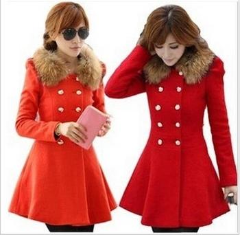 Herbstwinter Frauen Wolle Langer Mantel Warmen Roten Junge Damen