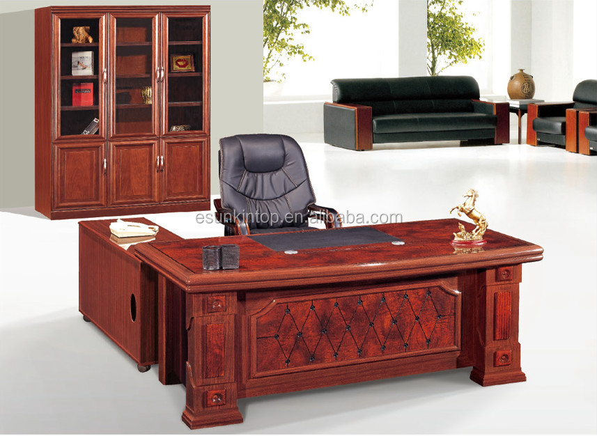 MDF Office Furniture Antique Office Desk Legs With Solid Wooden Office Table