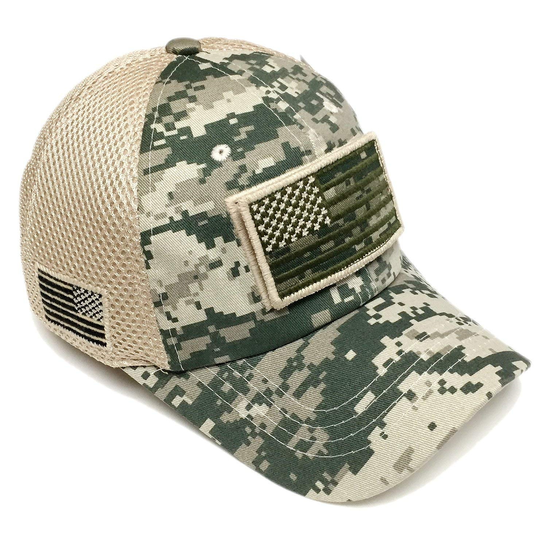 Get Quotations · Military Army Desert Green Camo Vintage Cotton Cap USA  Flag Patch Trucker Mesh Baseball Hat Dad 0bda21fe67a2