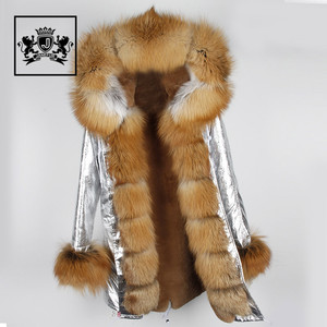 New Style Real Raccoon Fur Collar Parka Women's Fashion fur Parka