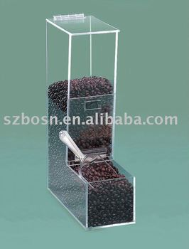 single L shape acrylic bean dispensers for coffee beanns