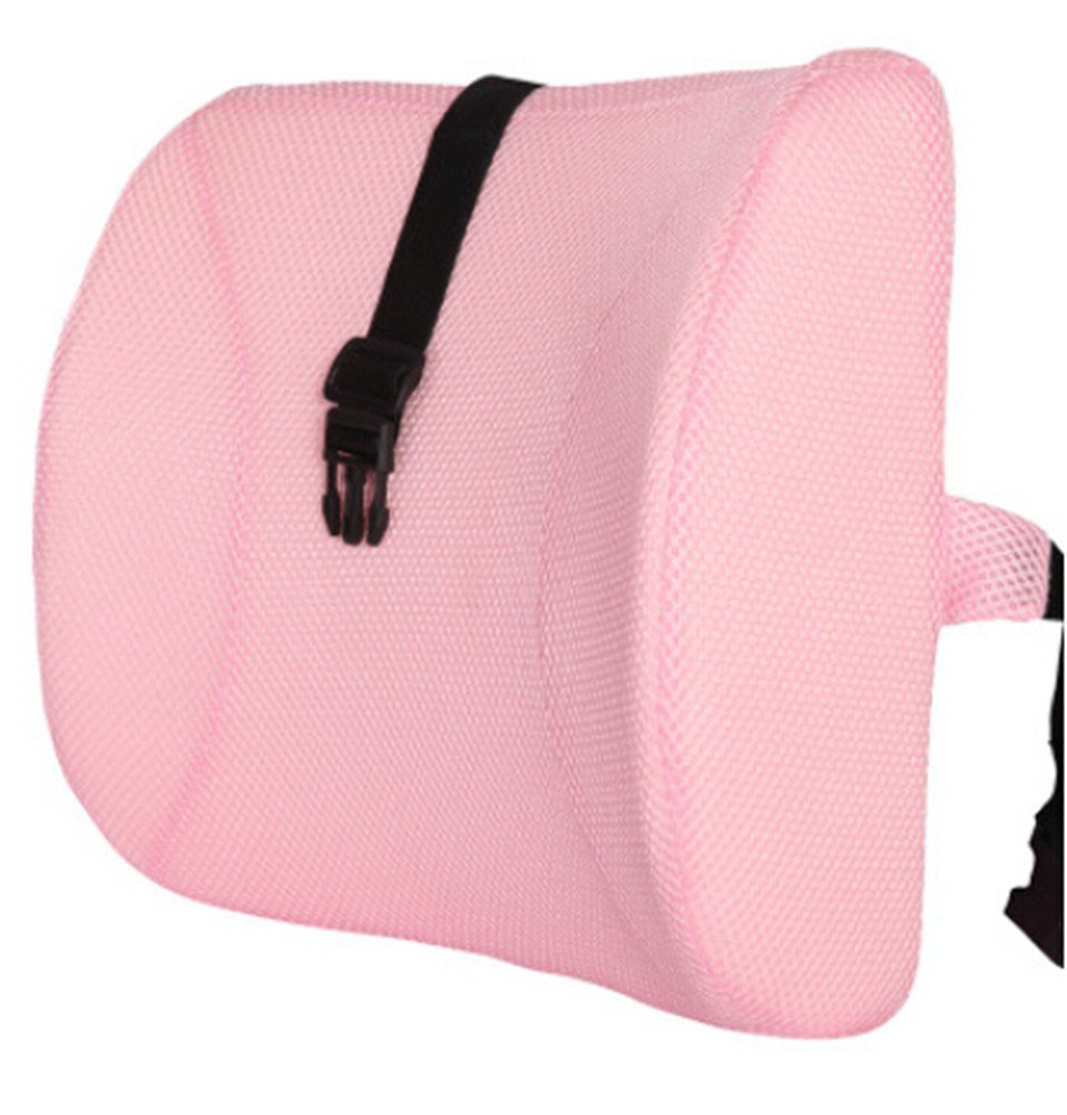 Moyishi Lovely Pink High Resilient Memory Foam Seat Back Lumbar Cushion Support Pillow Car Office Chair Back Support
