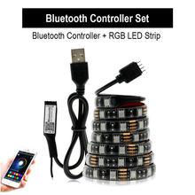 USB Светодиодная лента RGB DC5V гибкий светодиодный светильник RGB цветная сменная водонепроницаемая светодиодная лента 5050 50 см 1 м 2 м набор.(Китай)