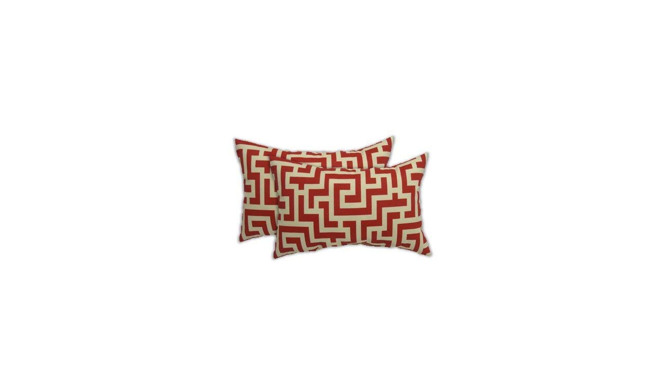 Resort Spa Home Decor Set of 2 Indoor/Outdoor Decorative Lumbar/Rectangle Pillows - Red and White Maze Pattern