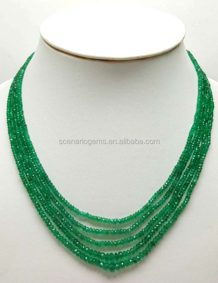 #CSZZ Natural Gemstone Faceted Cut Beads Necklace Emerald