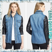 2016 Women New Fashion Leather Sleeves Blue Jean Motorcycle Denim Jacket